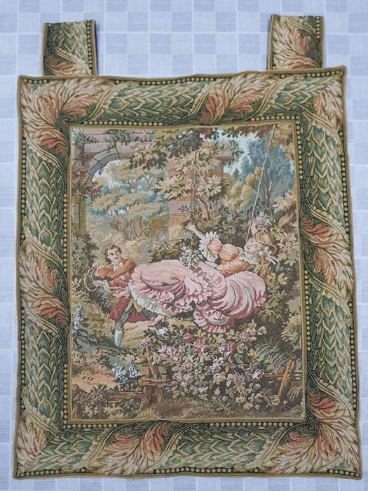 Vintage pictorial tapestry , China 88 cm x 76 cm