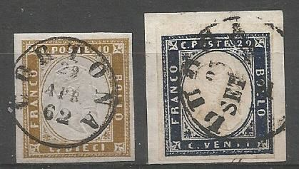 Sardinia 1855/1863 – 10 cent. olive grey brown; 20 cent. light indigo – Sass. No. 14Cg and 15Eb.