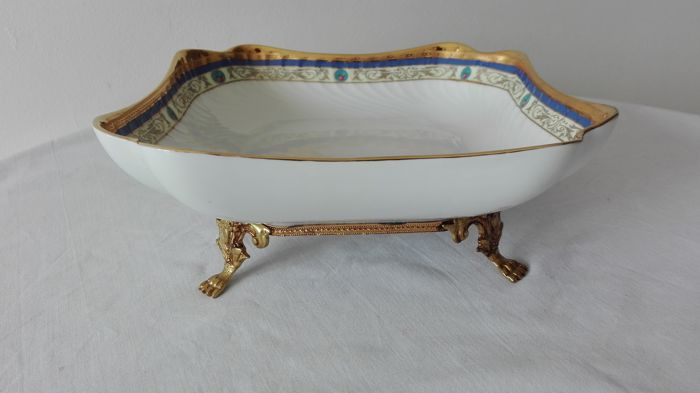 Cake Stand/Centrepiece, Fine Limoges Porcelain and 22 kt Gold