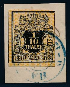 """Hannover - 1855 - """"smooth nameplate under coat of arms"""", 3 Sgr. Lively orange-yellow, Michel 7b"""