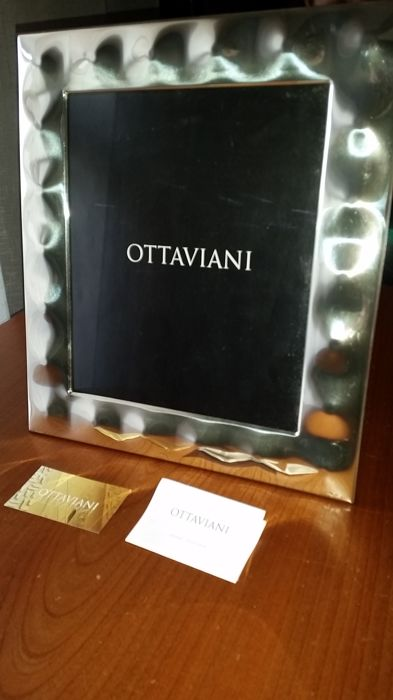 Large silver and mahogany wood photo frame by Ottaviani - Italian - 925/1000 - 2010