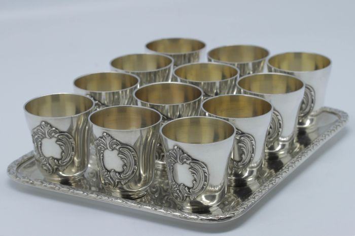 Antique silver and silver gilt liqueur serving set, silversmith: Hénin & Cie, France