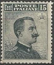 Italy, Kingdom, 1909 – Portrait of Vittorio  Emanuele III, turned to the side, 15 c. Grey-black - 'Sassone' Number 86.