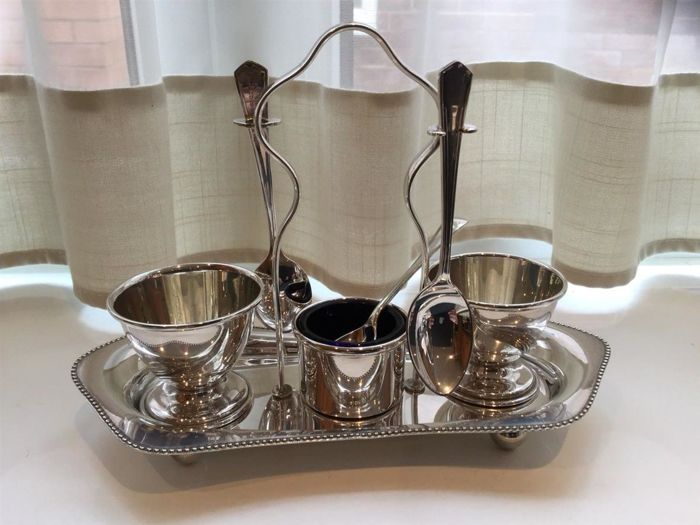 English Silver Plated Egg Cup Set for two with spoons and tray