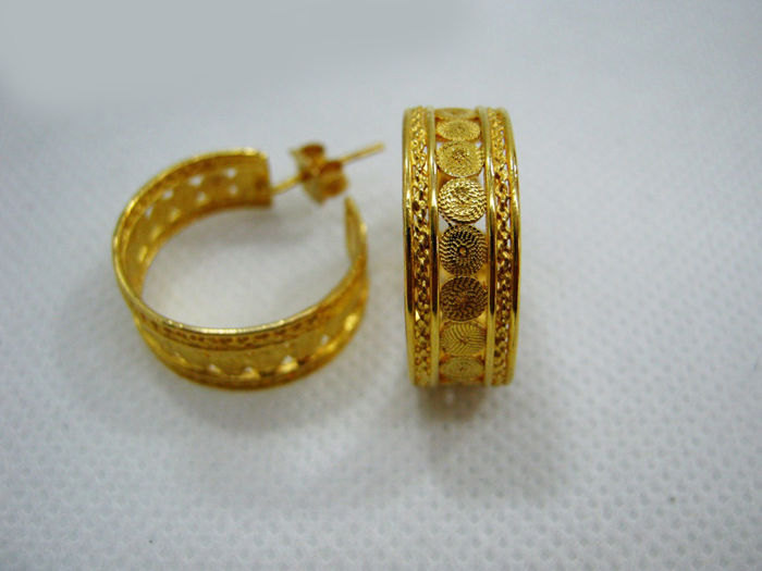Filigree Hoops - 19.2 kt - Gold - Hand-Crafted - 7.7 g - 2.1 cm