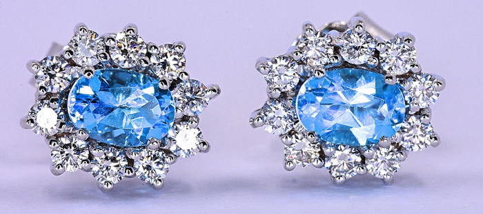 3.36 Ct Swiss Topaz and Diamonds, rosette earrings - 18kt white gold - 1,04ct brilliant cut diamonds – Size: 13x11 mm - ***NO RESERVE price***