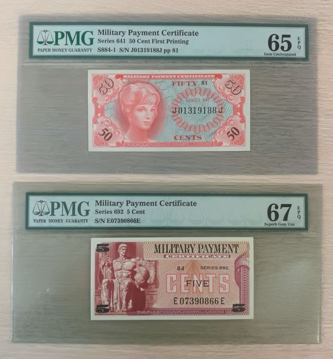 Usa Lot 2 X Military Payment Certificate 5c Series 692 50c
