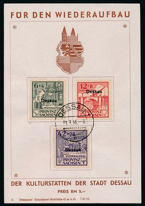 German local issue - 1946 - Dessau, 2 donation cards with reconstruction stamps No. I/III perforated