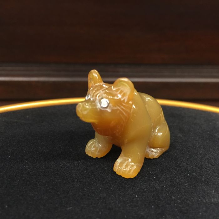 Faberge Agate Sitting Bear, stand w/Certificate