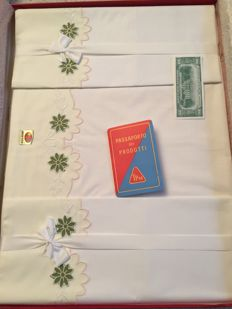 """TiPiEmme sheet + 2 pillowcases with embroidery, 100 % cotton with TPM product """"passport"""""""