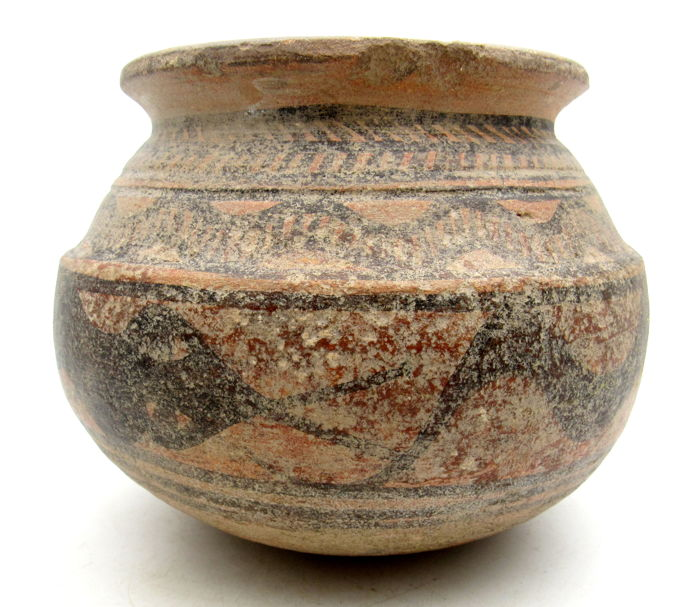 Ancient Indus Valley Painted Terracotta Jar With Snake Motif - 138x112mm