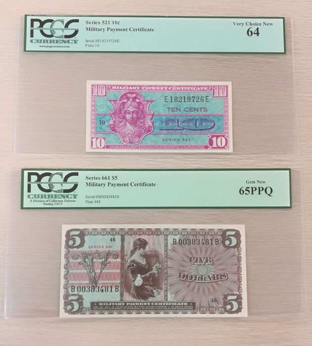 Usa Lot 2 X Military Payment Certificate 5 Series 661 10c