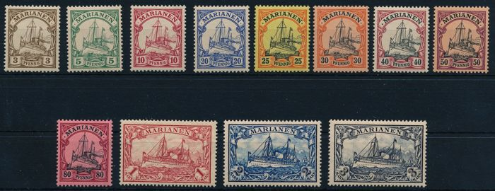 German colonies - Marianas - 1901 - emperor's yacht without watermark, 3 Pf. to 3 Mark, Michel 7-18