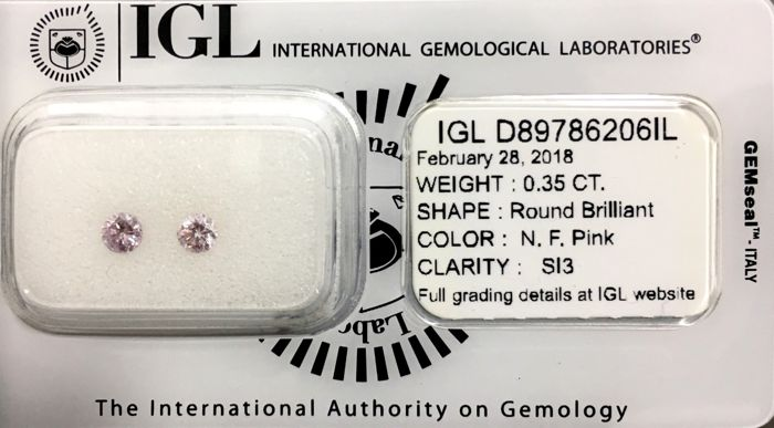 "Matching Pair Of Very Rare Natural Pink Diamonds - SI3 (""IDEAL CUT"") - LOW RESERVE PRICE"