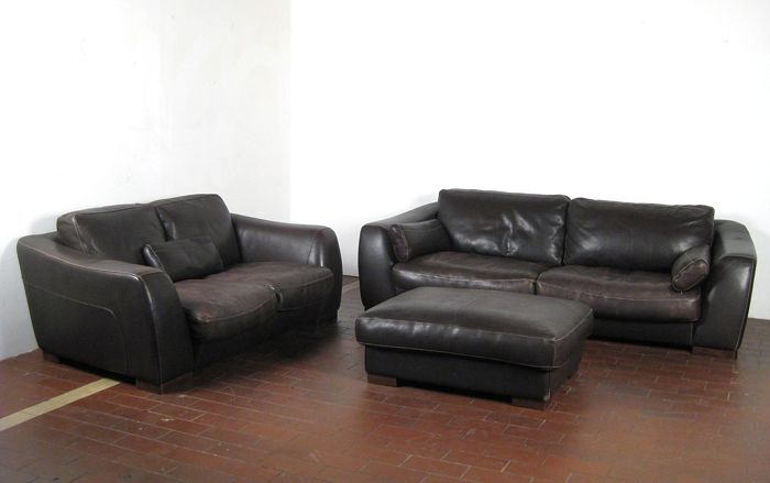 Incanto Divani - leather sofa set: three-seater, two-seater and ottoman -  Catawiki