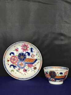 Famille rose pseudo tobacco leaf cup and saucer – China – 18th Century