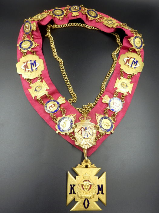 Masonic RAOB Knight of Merit Collar Chain Jewels, West Lodge 2260 - England, 1926