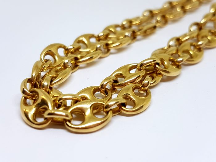 Chain in solid 18 kt gold - Length: 60 cm - Width: 1 cm