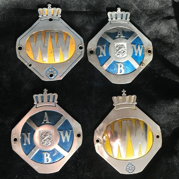 Four Original ANWB and WW badges; circa 1965