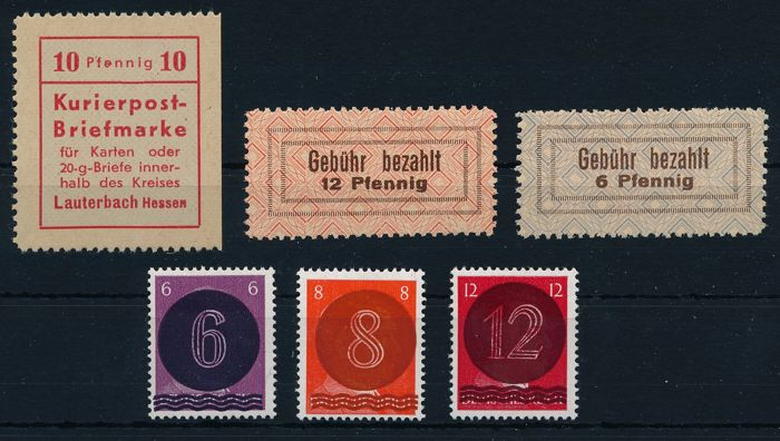 German local issues - 1945 - Lauterbach, courier postage stamp 10 Pf red, wage costs slips 1, 2 and West Saxony AI - AIII