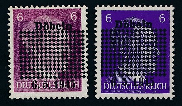 German local issues - 1945 - Chub, 6 Pf. Hitler with overprint blue-violet and lively violet, Michel 1 a / b