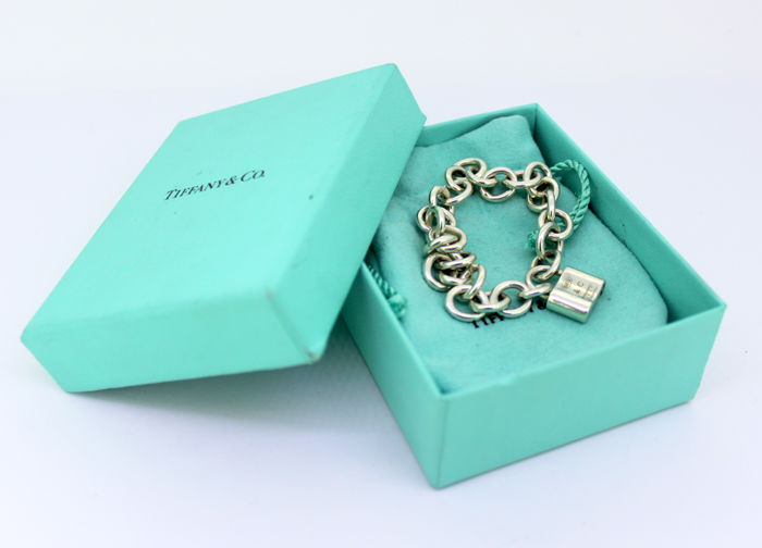 "Tiffany & Co - Sterling Silver ""1837 Collection"" padlock bracelet, C.1990's - Length x Width : 18 x 0.9 cm"