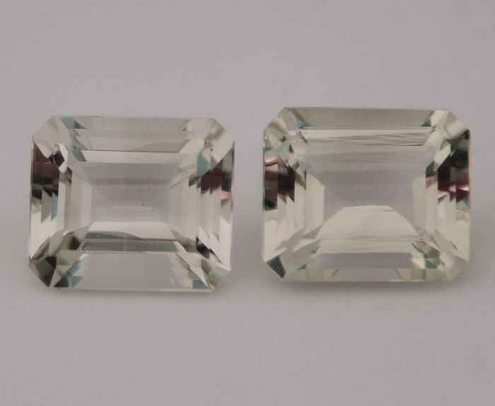 Pair of prasiolite - Green - 17.89 ct in total