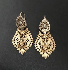 Antique Spanish or Portuguese earrings, start of 19th C.