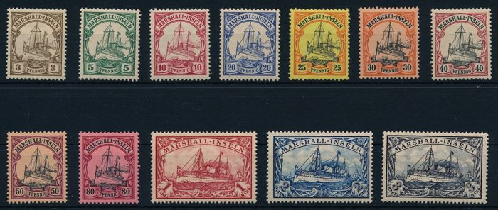 German colonies - Marshall Islands - 1901 - emperor's yacht 3 Pf to 3 Mark without watermark, Michel 13-24