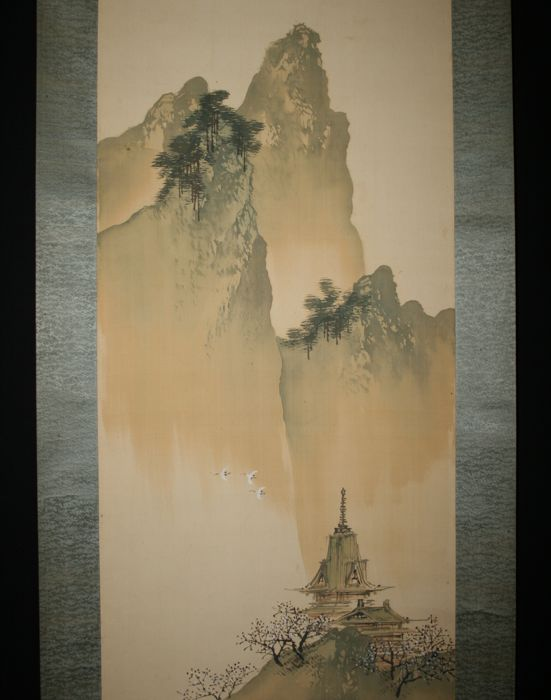 "Scroll painting signed and sealed by Otake Chikuha (1878-1938) 尾竹竹坡 - ""Temple and cranes in the mountains"" - Japan - Early 20th century"