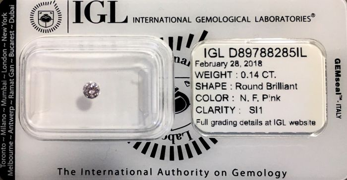 "Rare Natural Fancy Pink Diamond - SI1 (""IDEAL CUT"") - LOW RESERVE PRICE"