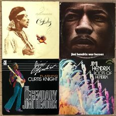 "Jimi Hendrix: lot of 4 records one of which folds out into a GIANT poster: ""Crash landing"" ""War heroes"" ""Flashing (with Curtis Knight)"" ""Roots of Hendrix"""