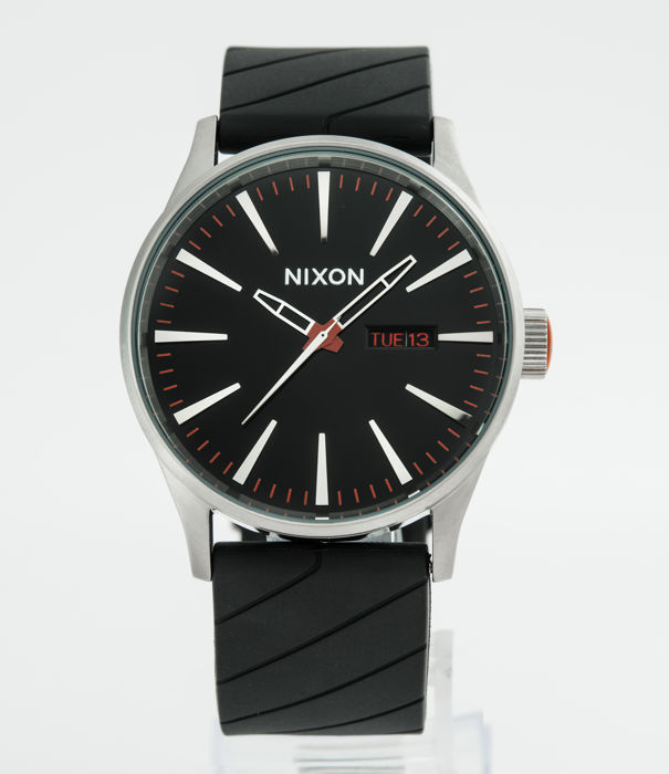 Nixon - Sentry Leather Black Band Stainless Steel Case Men - A105000-00 - Heren - 2011-heden