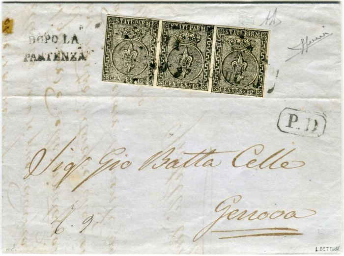 Parma, 1852 - 1st emission - 10 cent white stripe of 3 on a letter from Parma to Genoa - Sass. No.  2