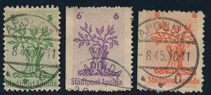 Local issues - Apolda - 1945 - tree stump with new twigs, 5 Pf. to 8 Pf. , Michel 1-3