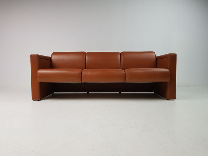 Joseph D'Urso for Knoll - 3-seater sofa in brown leather