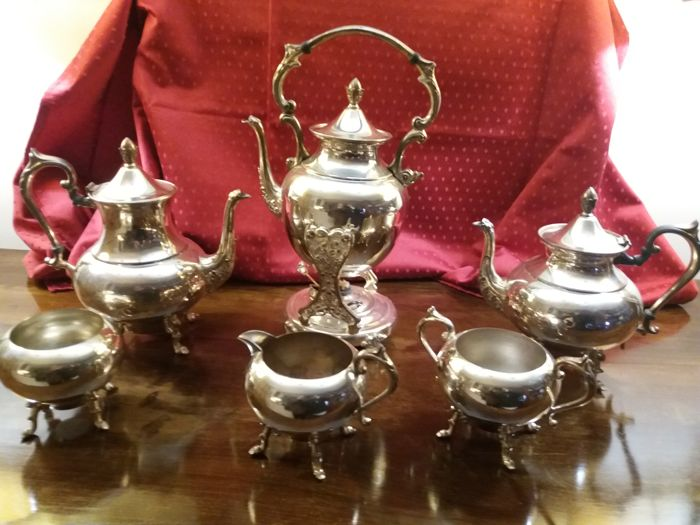 Coffee/tea set - 6 items - SILVER on COPPER