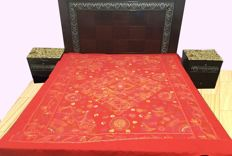 Elegant Double Bed Spread Hand Embroidered - 238 cm x 214 cm