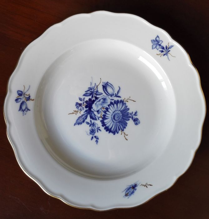 Meissen pastry or salad plate with Blue Flowers, gold grasses & insects