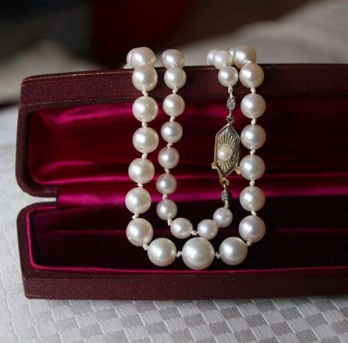 Art Deco Akoya necklace with genuine Japanse sea/salty pearls with good luster/nacre enchanted by a 14Kt gold clasp.