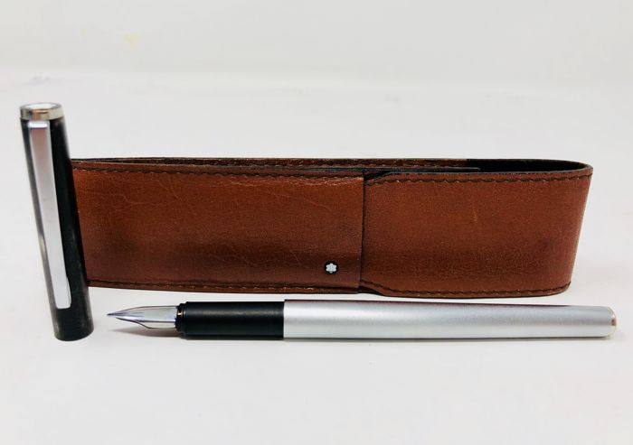 Stainless steel Montblanc fountain pen with Montblanc leather case