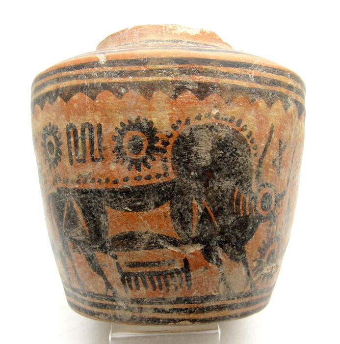 Ancient Indus Valley Painted Terracotta Jar with Bull Motif - 123x115mm