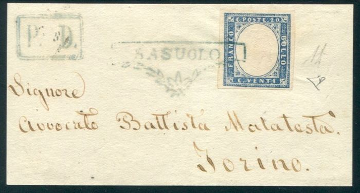 Modena 1860 - Sassuolo cancellation on the 20 cent value Sardinia IV on letter fragment for Turin
