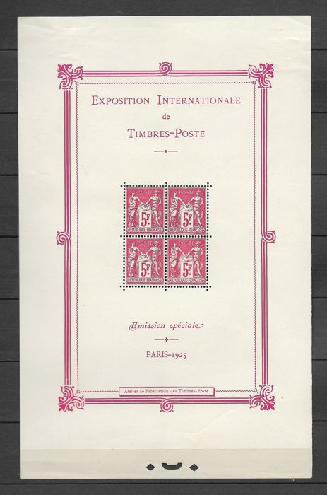 France 1925 - Block No 1 Paris International Exhibition 1925 Sage Type 4 x 5 Fr Carmine