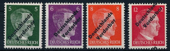 "German local issue - 1945 - Meissen - Hitler stamps with overprint ""Germany's Corrupter"" 5 Pfennig to 12 Pfennig, Michel 31-34"