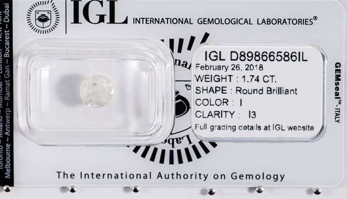 1.74 ct brilliant cut diamond  I / I3   *** Low Reserve ***