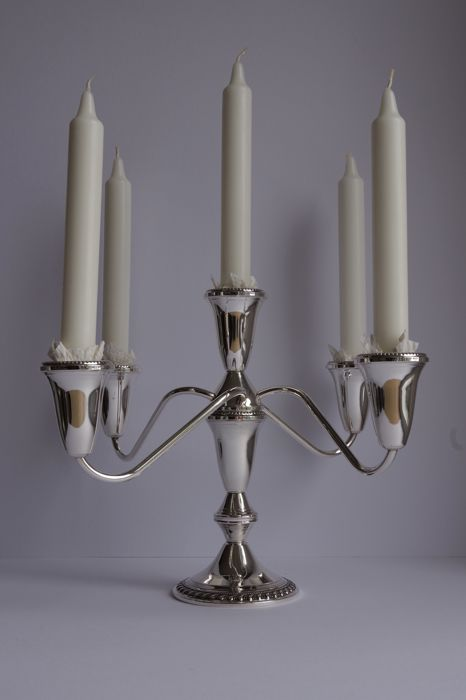 Silver five light candle stick, Duchin, United States, double usage, 20th century