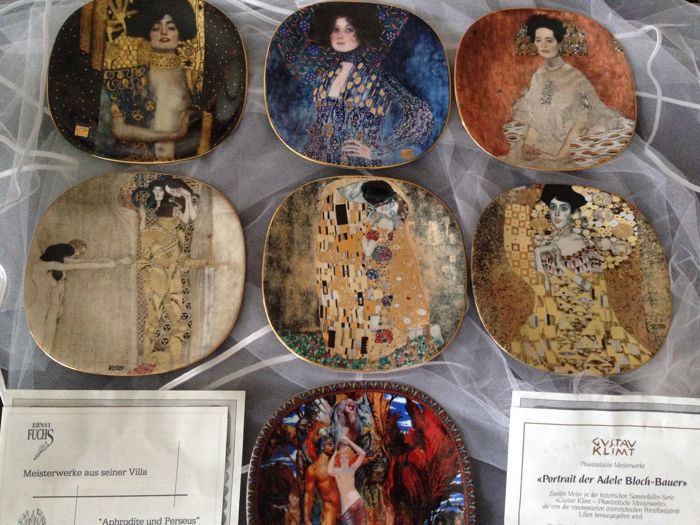Original Gustav Klimt collection - lily porcelain - 6 limited collection plates - plus 1 Ernst Fuchs
