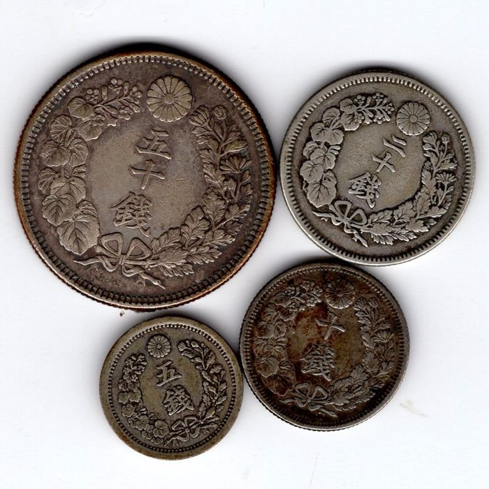 Japan - 5, 10, 20 and 50 Cents 'Meiji period' (4 pieces) - silver