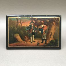"Hand colored tobacco box ""the hunt"" - Germany, ca. 1890"